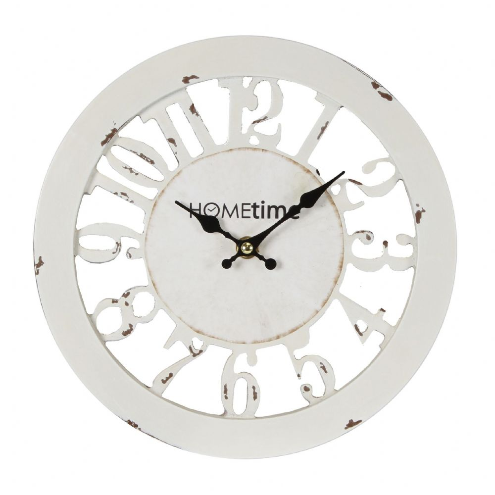Antique White Shabby Chic Wall Clock - Cut Out Skeleton Design Round County Farmhouse Wall Clock